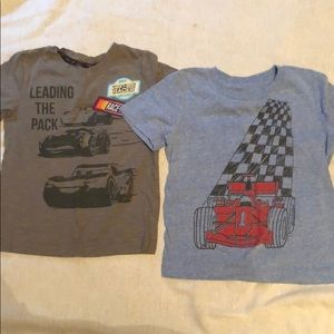 Boys 3T t-shirts, lightening McQueen and race car